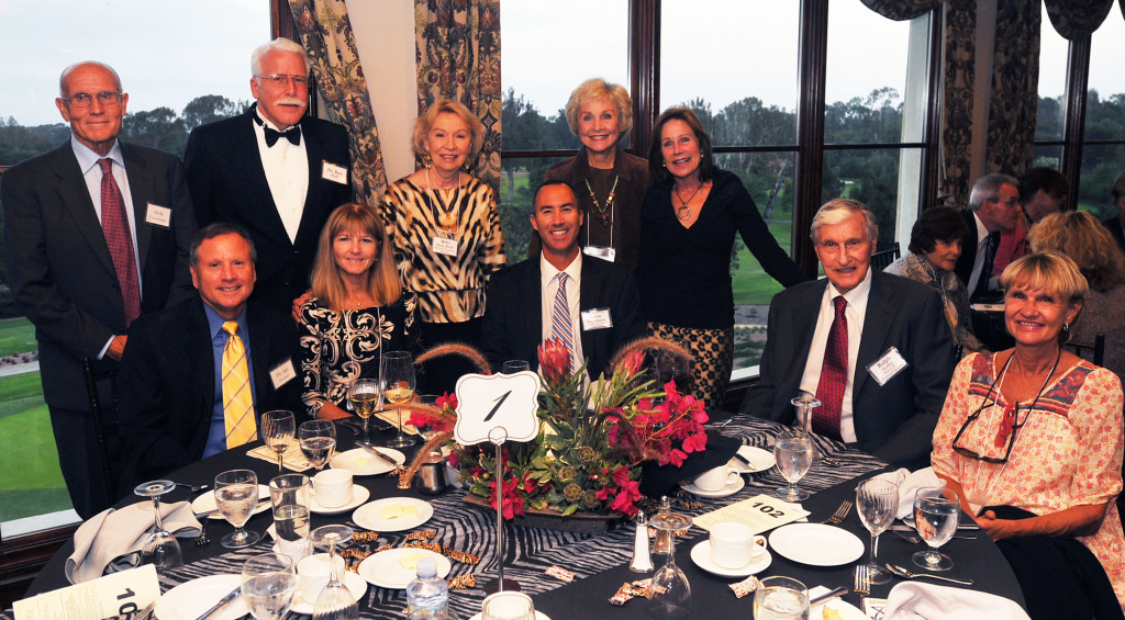 Standing from left: Merle Countryman, Dr. Ken Huff, Dr. Britt Huff, Marion ruth, and Kim Engen. Seated: Ian and Sherry Kramer, Major Sponsors from Continental Development Corporation; Steve Napolitano, M.C.; Ralph Scriba, Diamond Sponsor, and his daughter, Debbie Soldner