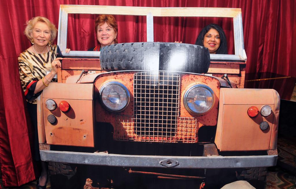 Britt Huff & Sharon Ryan enjoy a safari jeep ride with Anna Pinto, of Micato Safaris, who donated the luxury safari raffle item.